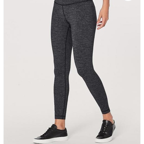 608c0468bb lululemon athletica Pants - Lululemon WU Variegated Knit Black Heathered  Black